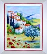 tableau paysages tableaux de provence hameau coquelicots paysage de provence peintres de provence : Le hameau du soleil