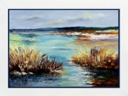 tableau paysages tableau de provence camargue roseaux e peinture ,a l hu peintre de provence : Crépuscule en Camargue
