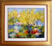 tableau paysages tableaux de provence mimosas en provence paysage de provence peintres de provence : Mimosas dans la colline