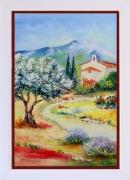 tableau paysages tableaux de provence paysage de provence oliviers coquelicot peintres de provence : La chapelle et l'olivier