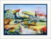 tableau paysages tableaux de provence coquelicots olivier paysage de provence peintres de provence : Aux pieds des collines