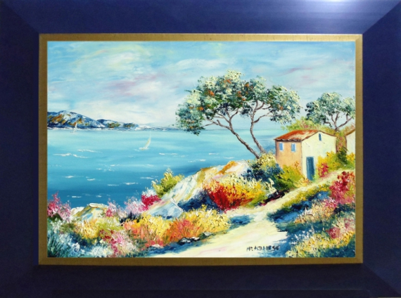 TABLEAU PEINTURE Tableaux de Provence Bord de mer, marine peintre de Provence mer, fleurs cabanon, Marine Peinture a l'huile  - Sentier du littoral Varois