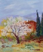 tableau paysages tableaux de provence amandier printemps paysage de provence peintres de provence : Au printemps