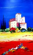 tableau paysages tableau moderne paysage provence peinture huile travail au couteau : Lumière passagère
