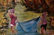 tableau scene de genre : femmes malgaches au drap bleu