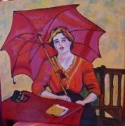 tableau personnages : MAX PEICHSTEIN Femme à l'ombrelle rouge