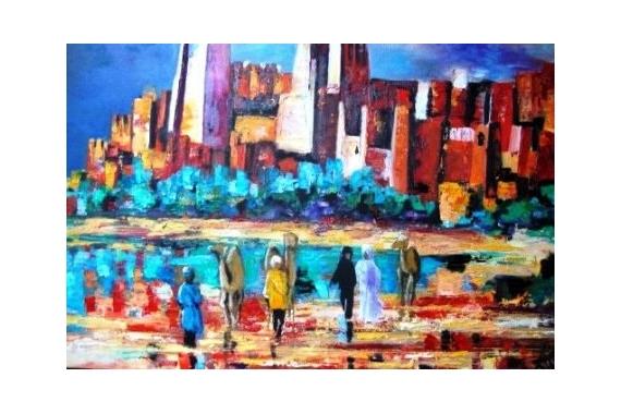 PAINTING Paysages Peinture a l'huile  - Des hommes et des ksars