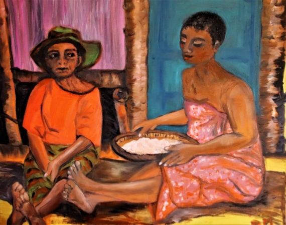 TABLEAU PEINTURE Femmes case Scène de genre Peinture a l'huile  - Pres de la case