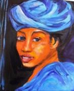 tableau personnages berger berbere turban bleu : jeune berbère au turban bleu