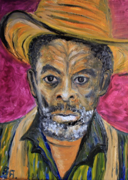 TABLEAU PEINTURE homme noir chapeau Personnages Pastel  - vieil homme de Jamaique