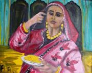 tableau scene de genre femme ethnique ind : La Belle dedaigneuse