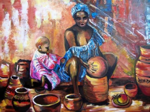 TABLEAU PEINTURE Personnages Peinture a l'huile  - femme à la poterie