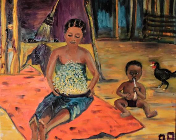 TABLEAU PEINTURE femme indigène malgache bebe . activité rurale Scène de genre Peinture a l'huile  - Saute-riz devant la case