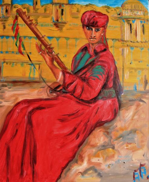 TABLEAU PEINTURE musicien indien muraille Personnages Peinture a l'huile  - Le Musicien du Fort Gwalior