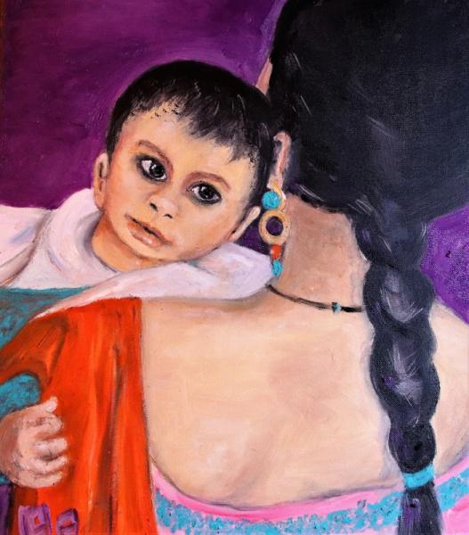 TABLEAU PEINTURE Enfant femme bebe natte Personnages Peinture a l'huile  - L'Enfant d'AGRA