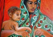 tableau personnages : femme indienne au voile vert