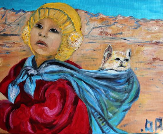 PAINTING ENFANT chat MONTAGNE Personnages Peinture a l'huile  - Petit Tibétain au chat