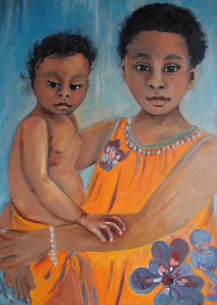 TABLEAU PEINTURE enfant fillette bambin malgaches Personnages Peinture a l'huile  - GRANDE SOEUR PETITE MAMAN