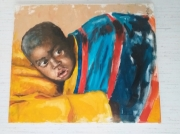 tableau personnages bebe afrique : Bébé sur son dos