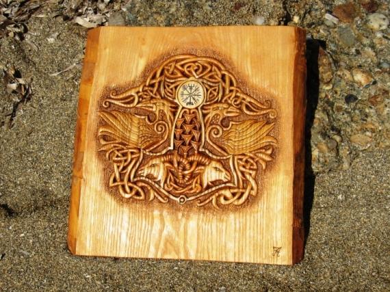 SCULPTURE joe amarok viking art woodcarving art sculptures sur bois Taille Bois  - MYTHOLOGIE NORDIQUE