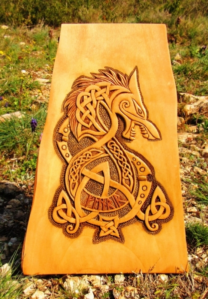 SCULPTURE fenrir amaroksculptures mythologie nordique vikingart Verre  - FENRIR