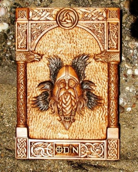 SCULPTURE joe amarok norse mythology viking art odin Personnages Taille Bois  - ODIN Hugin et Munin