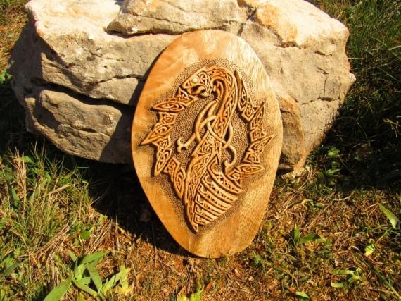 SCULPTURE woodcarving art mythologie nordique joe amarok viking art Bois  - LE SNEKKAR