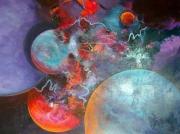 tableau abstrait galactiques : J'ai pas mangé les champignons