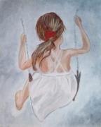 tableau personnages fillette balancoire enfants : fillette balançoire