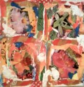 tableau fleurs papier dechire colle peind : fleurs
