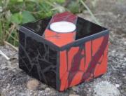 artisanat dart abstrait bougeoir mosaique decoration bougie : Bougeoir rouge