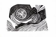 tableau abstrait spiral linogravure abstrait gravure : Traces