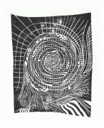 tableau abstrait gravure linogravure spiral mouvement : Spir'