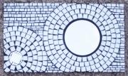 deco design abstrait mosaique miroir rond decoration : Blanc