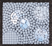 deco design abstrait mosaique miroir decoration artisanat d art : Blanc 2