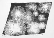 tableau abstrait feu d artifice gravure artisanat d art linogravure : Artifice