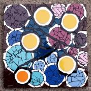 ceramique verre fleurs mosaique rond fleurs printemps : Fleurs