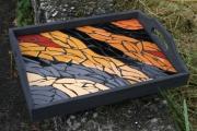 artisanat dart animaux zebre service noir flammes : Plateau zébré