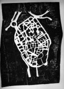tableau villes strasbourg plan gravure art : Cœur de Strasbourg