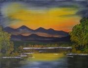 tableau paysages paysage nature etang soleil : Sans Nom