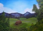 tableau paysage landscape campagne prairie : Tiny House