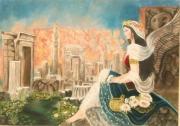 tableau scene de genre histoire guerre decombre catastrophe : Femme Perse