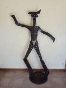 sculpture personnages acier arlequin recuperation : arlequin