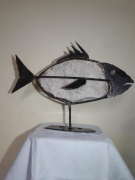 sculpture animaux poisson pierre animal acier : Poisson