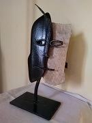 sculpture personnages acier pierre tete noir : Double