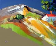 tableau paysages : cabanon ombragé