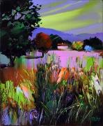 tableau paysages : le petit ruisseau sous l'herbe