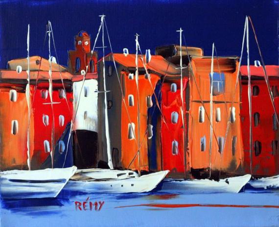 PAINTING Villes Peinture a l'huile  - port st tropez
