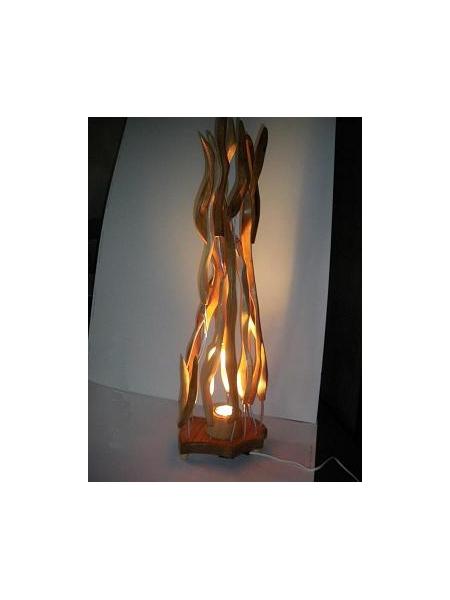 ARTISANAT D'ART lampe flamme feux bois  - lampe