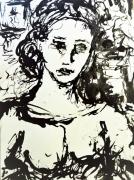 dessin personnages femme portrait triste regard : La femme